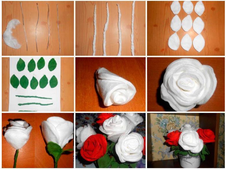этапы изготовления розы из ватных дисков