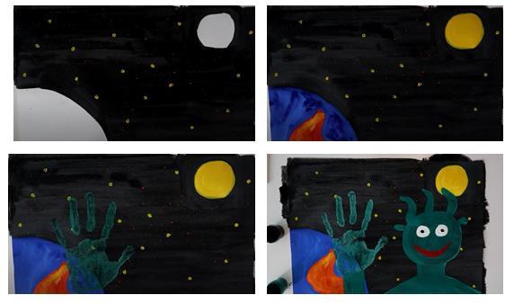 поэтапный рисунок инопланетянина