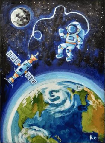 космонавт со станцией