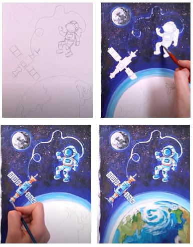космонавт со станцией коллаж