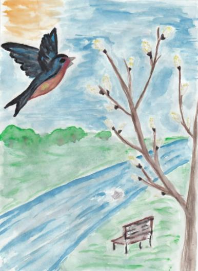 ручей с птицей