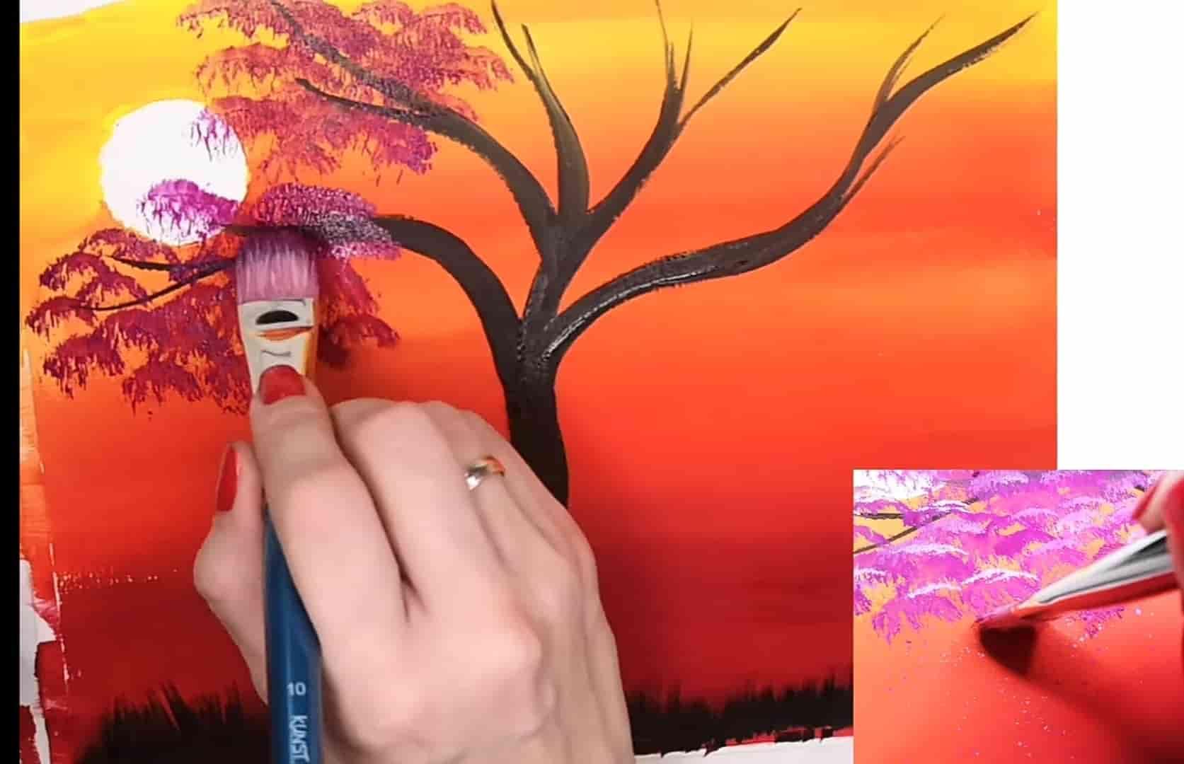 сиреневым прорисовать листья