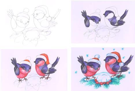 поэтапно новогодние пташки