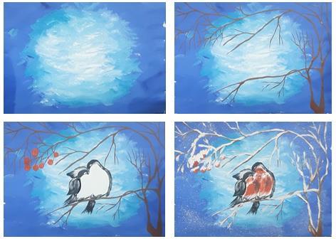 рисуем пару снегирей красками