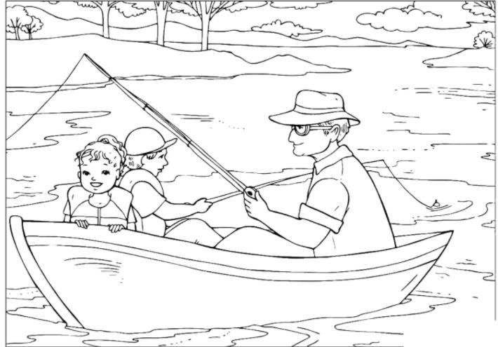 семья на рыбалке