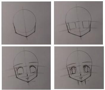 анфас лица аниме карандашом