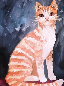 полосатый кот гуашью