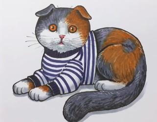 цветной кот лежа