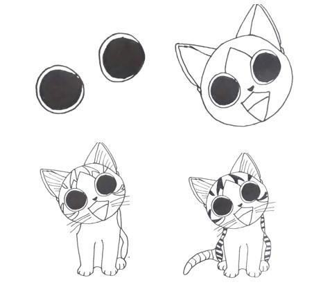 котенок аниме поэтапно