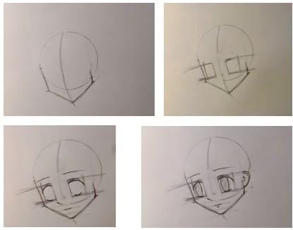 лицо аниме с наклоном на 2 четверти
