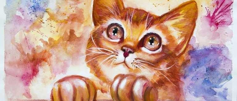 рисунок котенка красками