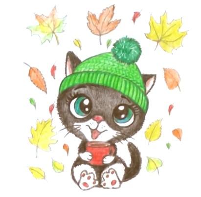 осенний кот и листья