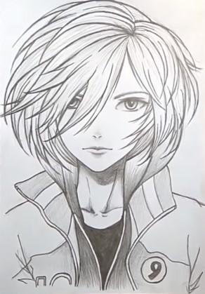 парень аниме карандашом