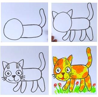 поэтапное рисование кошки