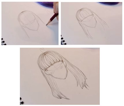 прямые волосы этапы рисования