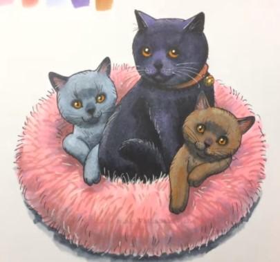 с котятами на лежанке