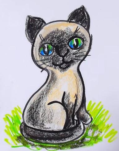 сиамский кот сидя