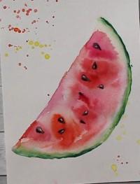 рисунок арбуза акварелью