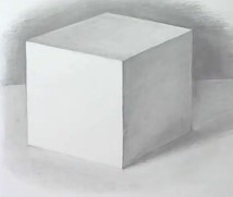 куб объемно карандашом