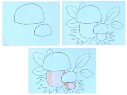 набросок шляпок грибов