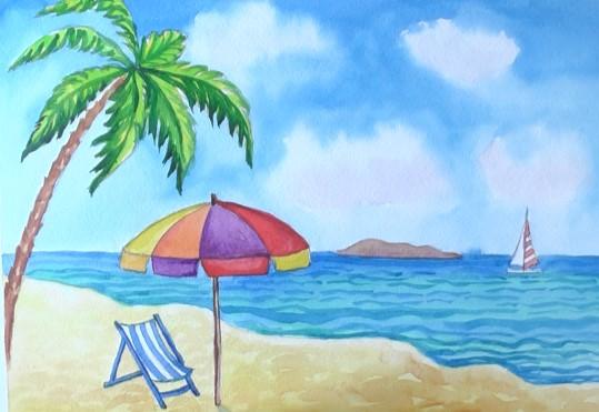 пляж карандашом