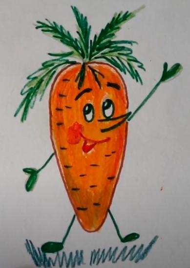 веселая морковка цветными карандашами
