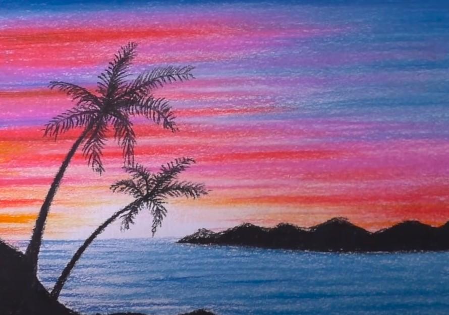 закат на море пастелью