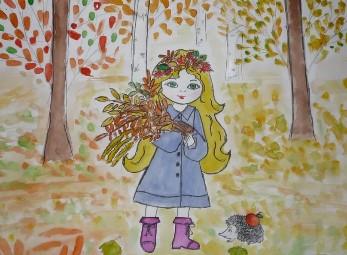 девочка и листья