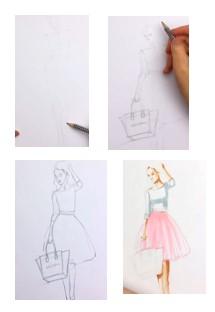 девушка в юбке набросок карандашом