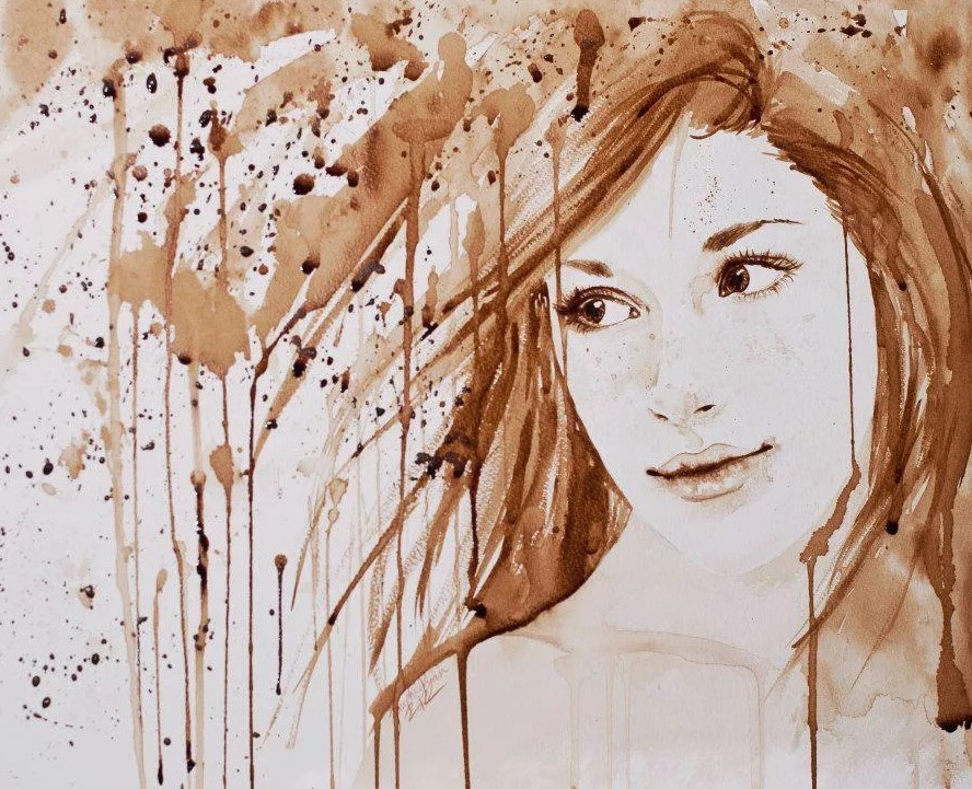портрет девушки кофе