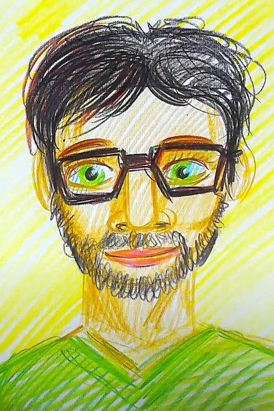 мужчина цветными карандашами