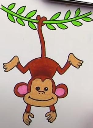 обезьяна на лиане цветными карандашами
