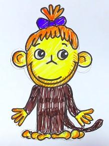 раскрашиваем обезьяну карандашами