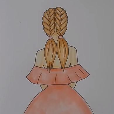 девочка с косичками в платье
