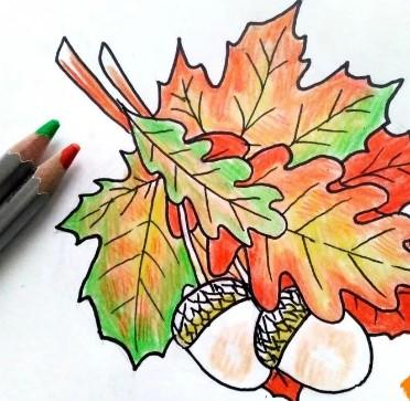 листья с орехами