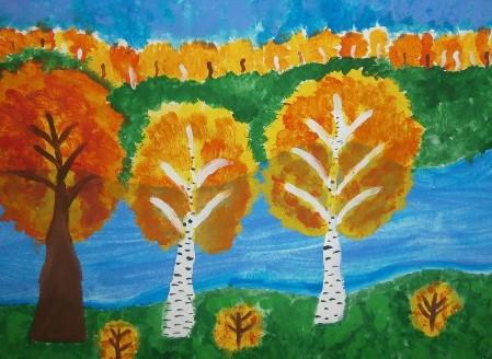 деревья с рекой