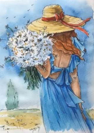 девочка с ромашками рисунок акварелью