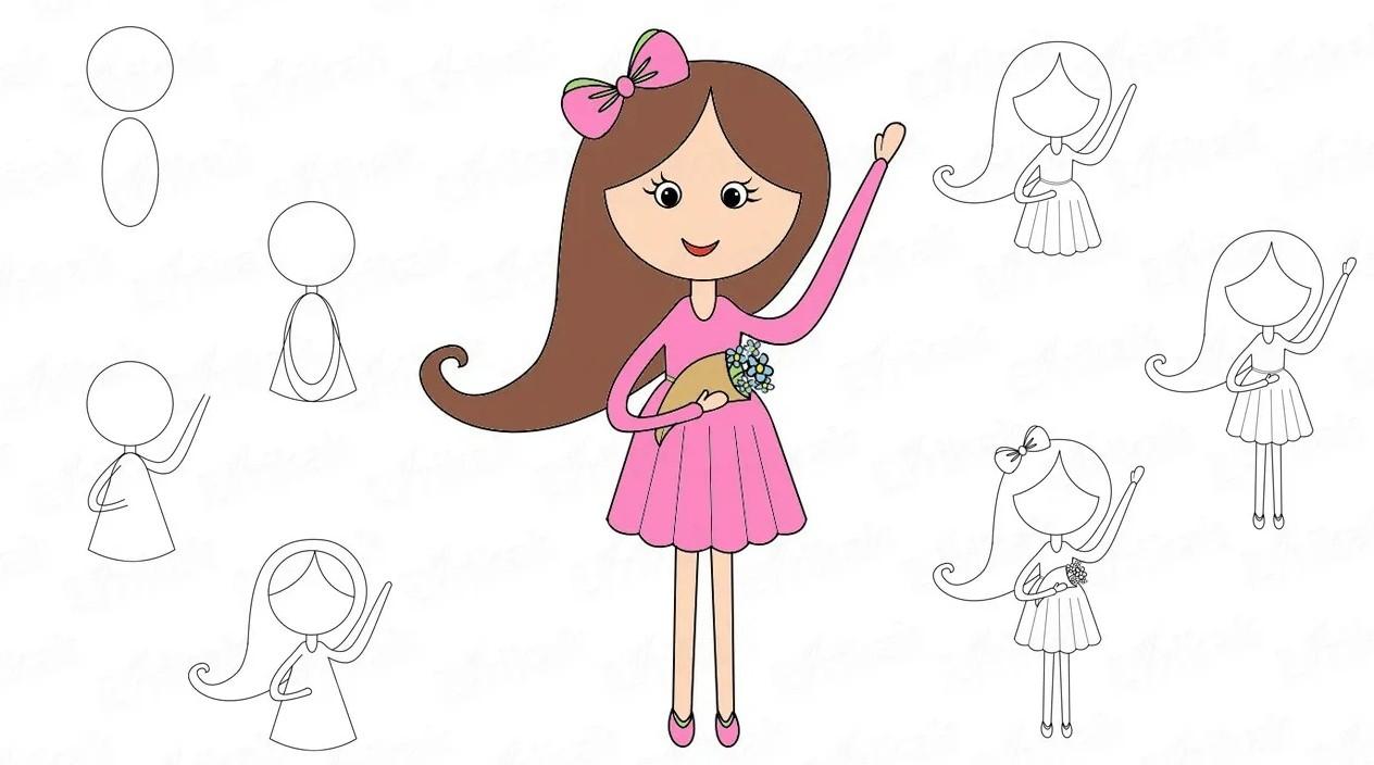 схема рисовки девочки в розовом платье