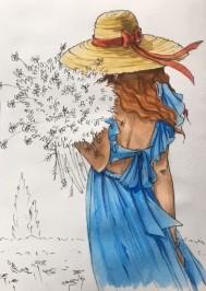 тонируем голубым платье