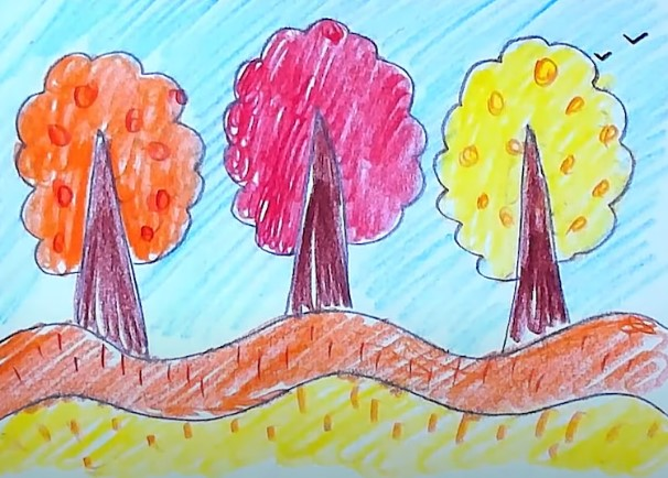 три дерева рисунок карандашом