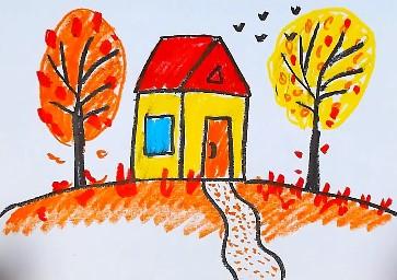 простой осенний рисунок в детский сад