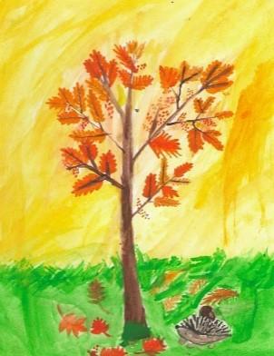 дерево на желтом фоне