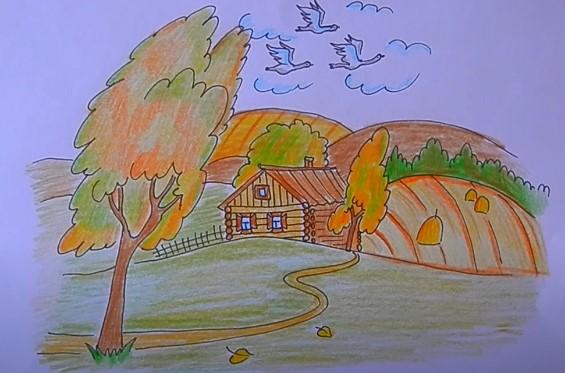 рисунок на тему золотая осень
