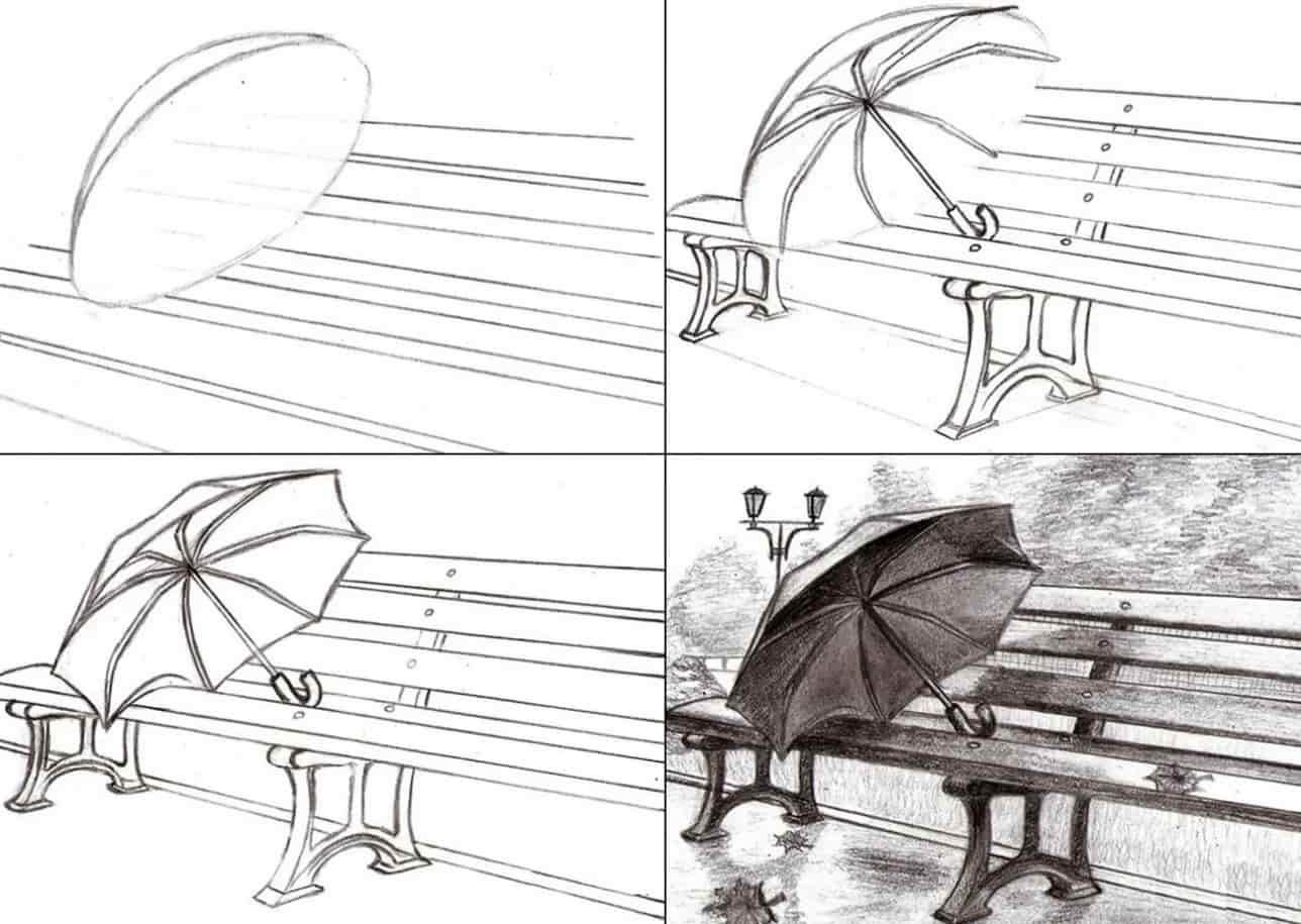 зонт на скамье пошагово