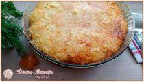 Запеканка с мясом и рисом в духовке под сметанным соусом