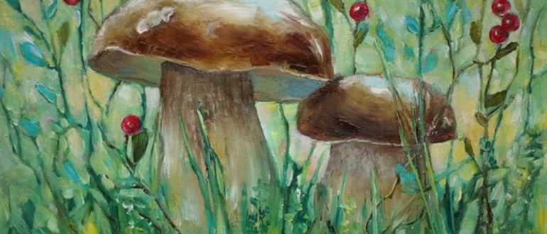 два гриба в траве рисунок