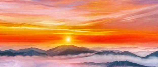 рисунок рассвет в горах